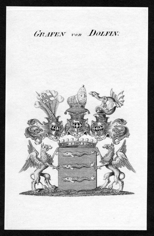 Ca. 1820 Dolfin Wappen Adel coat of arms Kupferstich antique print heraldry 0