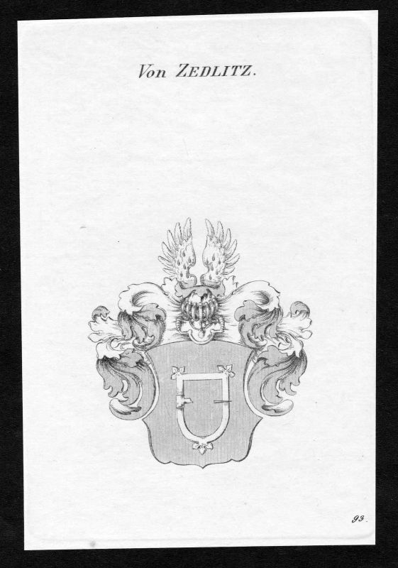Ca. 1820 Zedlitz Wappen Adel coat of arms Kupferstich antique print heraldry 0