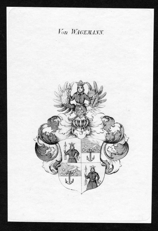 Ca. 1820 Wagemann Wappen Adel coat of arms Kupferstich antique print heraldry 0