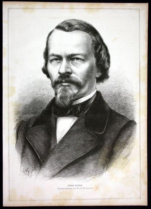 Ca. 1880 Gustav Freytag Schriftsteller writer Portrait Holzstich antique print 0