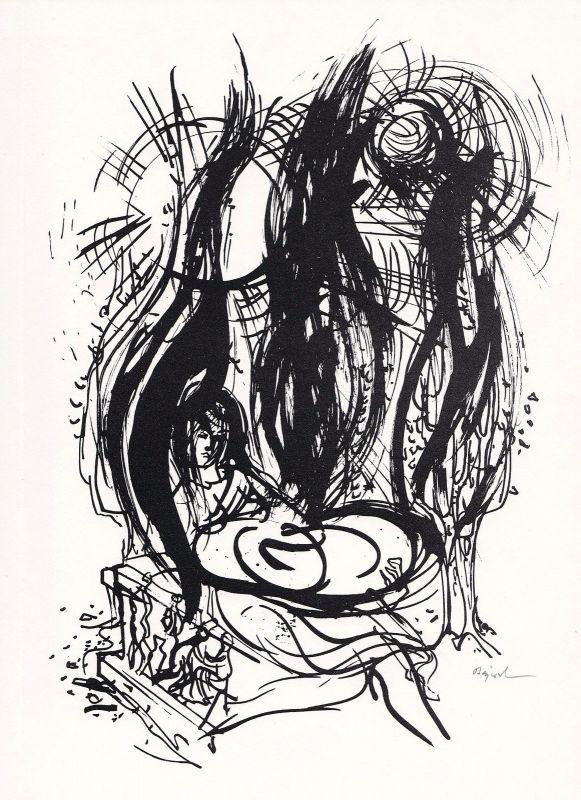1963 Archibald Bajorat Wolfgang Bächler Rotaprintzeichnung zu