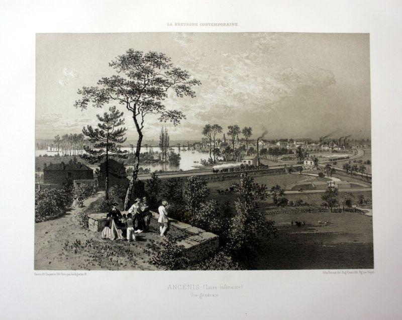 1870 Ancenis vue generale Loire Bretagne France estampe Lithographie lithograph