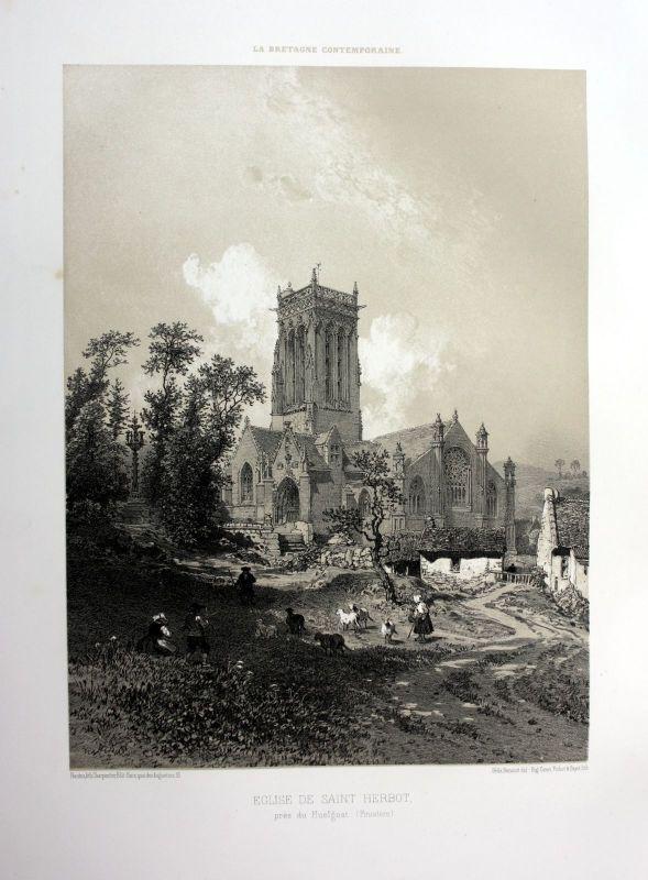Ca. 1870 Eglise Saint-Herbot Bretagne France estampe Lithographie lithograph