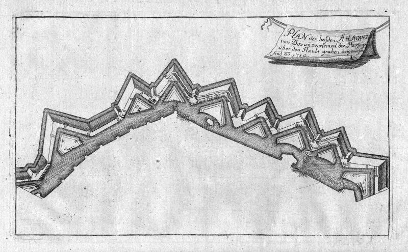 1715 Douai bataille gravure carte map Karte Kupferstich antique print Merian
