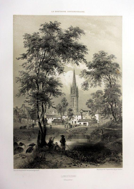 Ca. 1870 Eglise Saint-Thivisiau Landivisiau Bretagne France estampe Lithographie