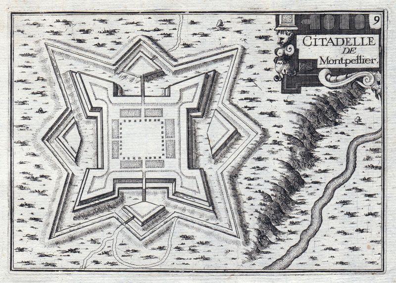 1630 Zitadelle Montpellier Okzitanien Hérault France gravure estampe Tassin
