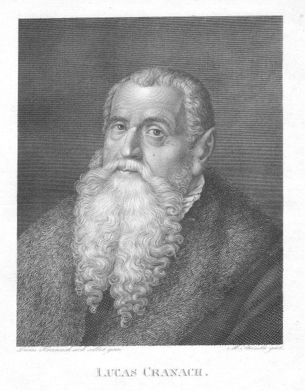 Ca. 1820 Lucas Cranach Selbstportrait Maler Grafiker Buchdrucker Weimar Steinla