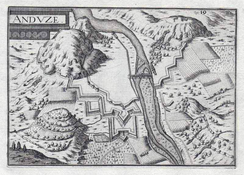1630 Anduze Languedoc-Roussillon Ales France gravure estampe Kupferstich Tassin