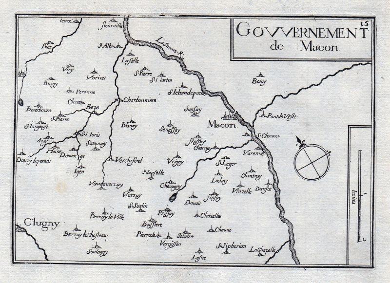Macon Saone-et-Loire Burgund Bourgogne France gravure estampe Kupferstich Tassin