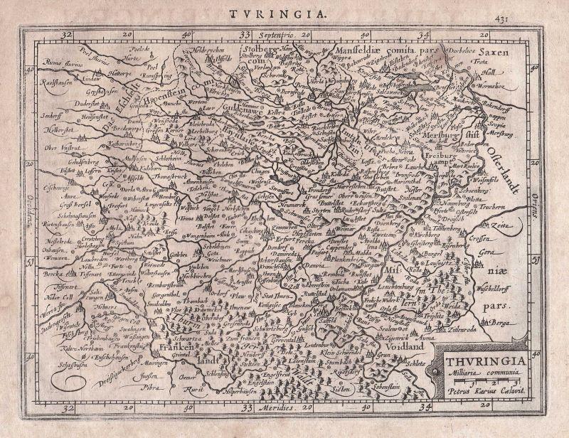 Thüringen Thuringia Erfurt Ilmenau Thüringer Wald Thuringian Forest map Mercator
