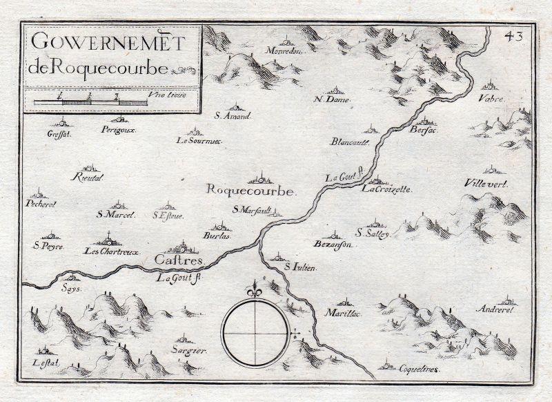 1630 Roquecourbe Castres Tarn France gravure estampe Kupferstich Tassin