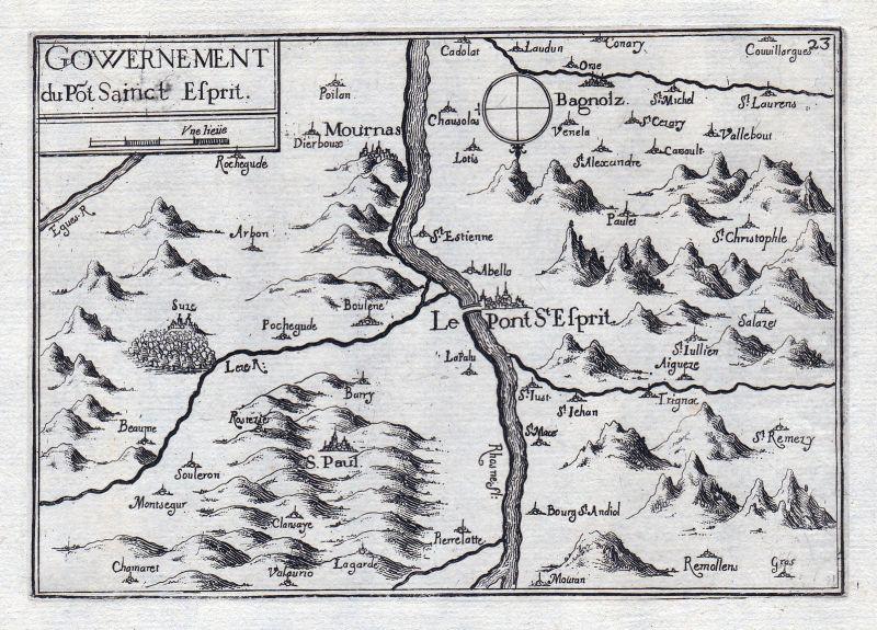 1630 Pont-Saint-Esprit Languedoc-Roussillon Gard France gravure estampe Tassin