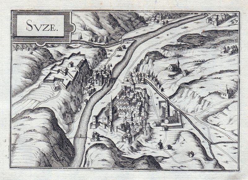 1630 Susa Italia Piemonte gravure estampe Kupferstich Tassin
