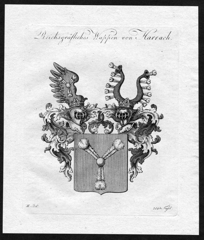 1790 - Harrach Wappen Adel coat of arms heraldry Heraldik Kupferstich 0