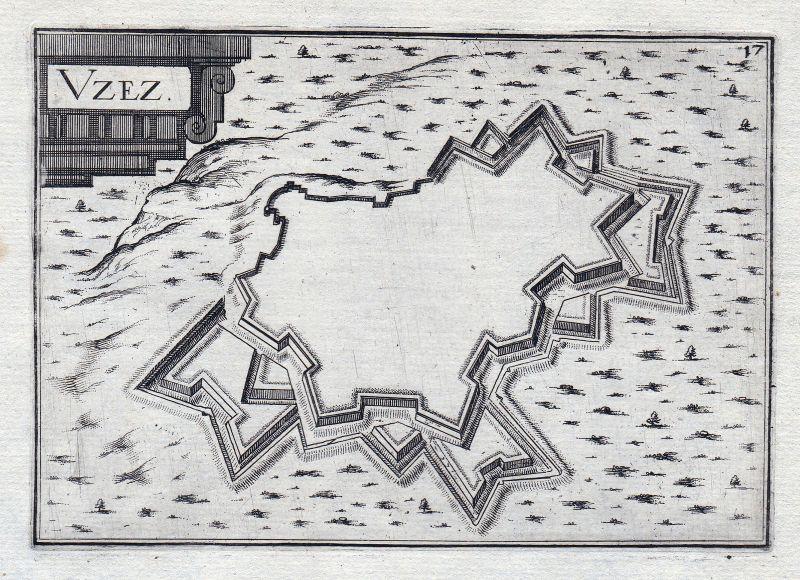 1630 Uzes Languedoc-Roussillon Gard France gravure estampe Tassin