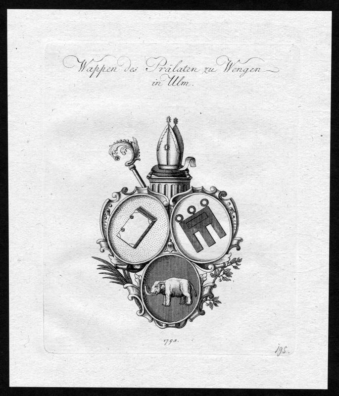 1790 - Wengenkirche Ulm Wappen Adel coat of arms heraldry Heraldik Kupferstich 0