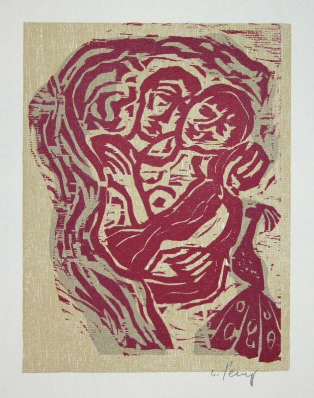 2003 Werner Persy Liebespaar II Paar Liebe Farbholzschnitt signiert Grafik 0