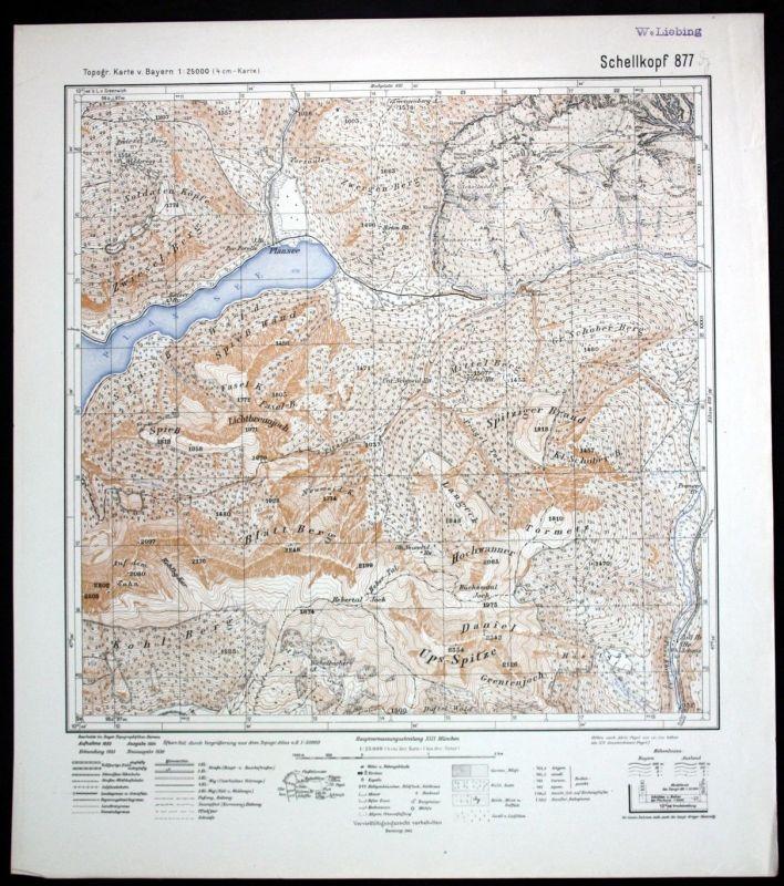 1936 Schellkopf Plansee Lichtbrennjoch Alpen Ammergau 1:25000 Karte