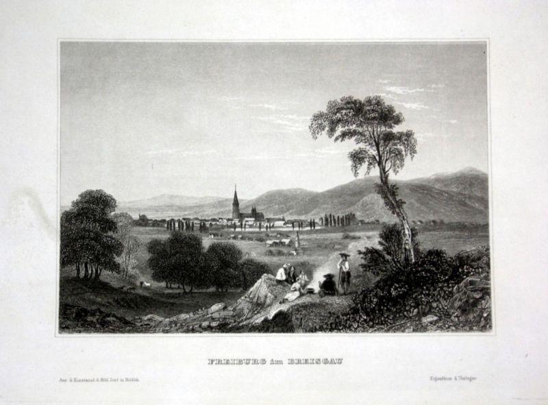 Ca. 1840 Freiburg im Breisgau Ansicht Panorama view Stahlstich engraving