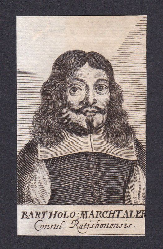 17. Jh. Bartholomäus Marchtaler / lawyer Jurist Regensburg Portrait Kupferstich