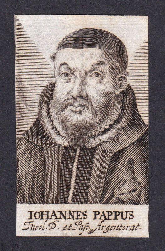 17. Jh. Johannes Pappus / theologian Theologe Lindau Portrait Kupferstich