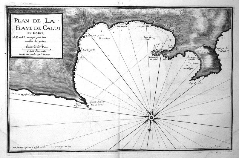 1732 Calvi Corse Corsica map carte Karte Kupferstich antique print Ayrouard 0