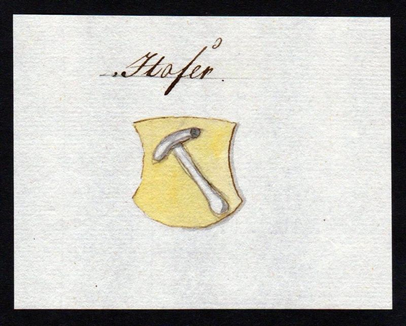 18. Jh. Hofer Hofen Hof Handschrift Manuskript Wappen manuscript coat of arms