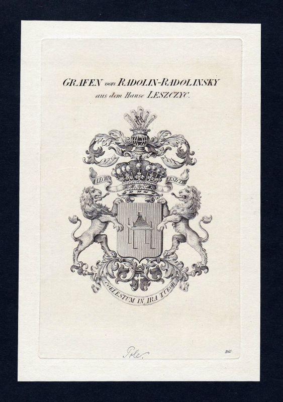 1820 Radolin Wappen Adel coat of arms heraldry Heraldik Kupferstich engraving