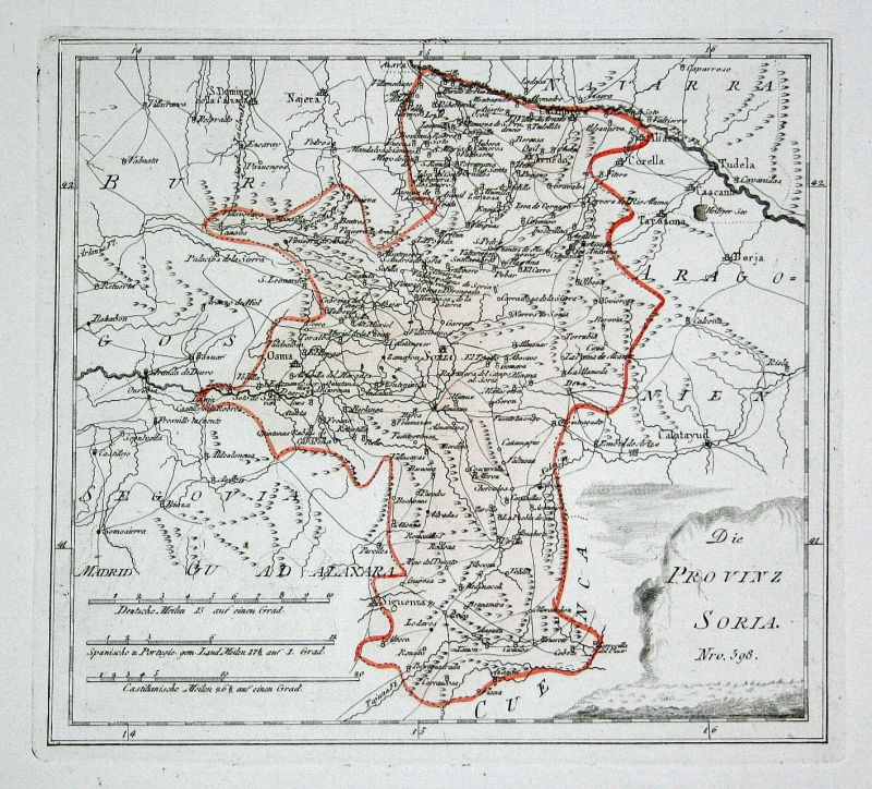 Spanien Spain Portugal Soria Sigüenza Garray map Reilly engraving Kupferstich 0