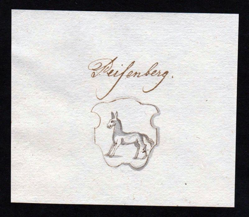 18. Jh. Peisenberg Peißenberg Manuskript Wappen manuscript coat of arms 0
