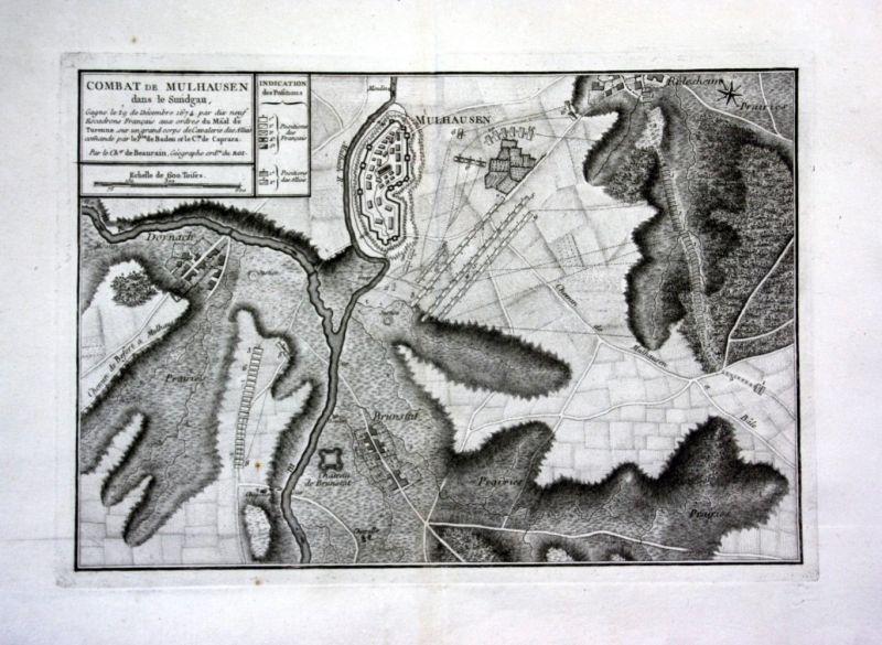 Ca. 1780 Combat de Mulhouse Elsass Alsace gravure Kupferstich Karte map 0