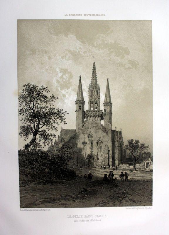 1870 Saint-Fiacre chapelle Le Faouet Bretagne France estampe Lithographie litho 0