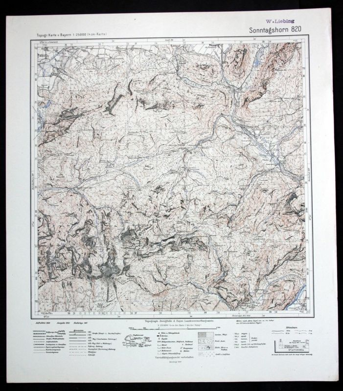 1940 Sonntagshorn Ristfeucht Weissbach 1:25000 Karte Meßtischblatt