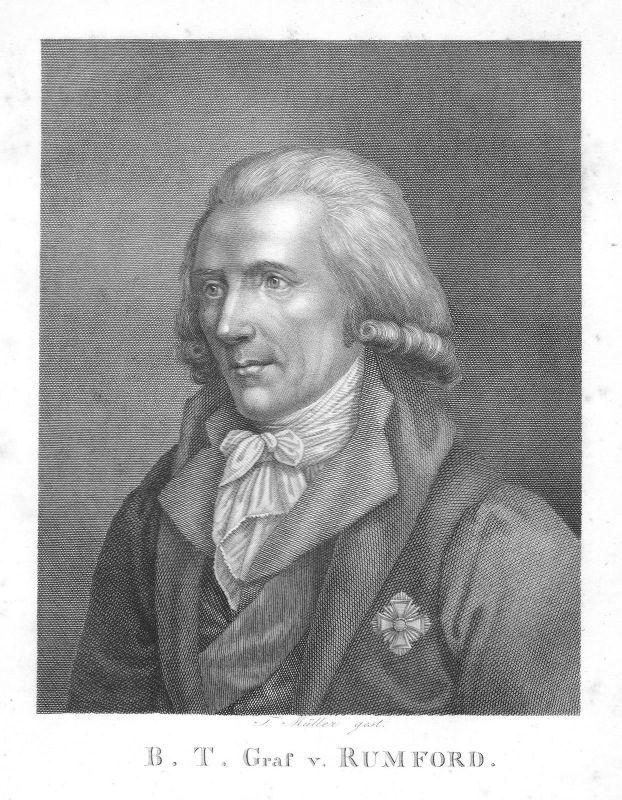 Ca. 1820 Benjamin Thompson Count Rumford physicist Physiker Portrait Müller