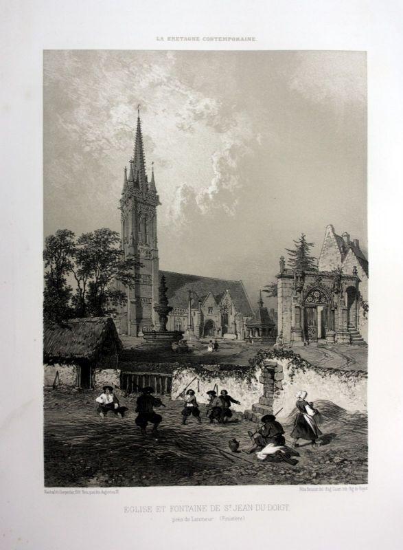 1870 Eglise Saint-Jean-du-Doigt Bretagne France estampe Lithographie lithograph
