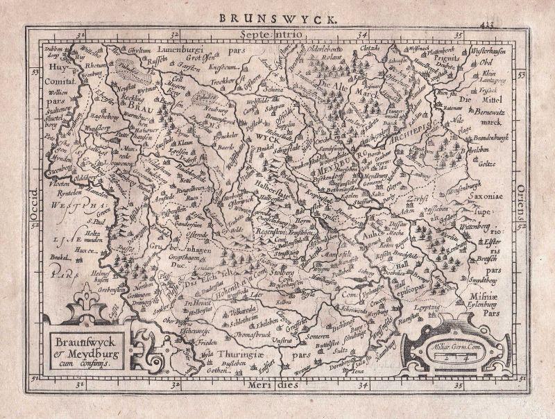 Braunschweig Magdeburg Thüringen Thuringia Leipzig map Karte Gerard Mercator 0