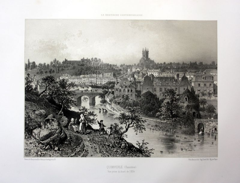 1870 Quimperle Elle riviere vue Bretagne France estampe Lithographie lithograph