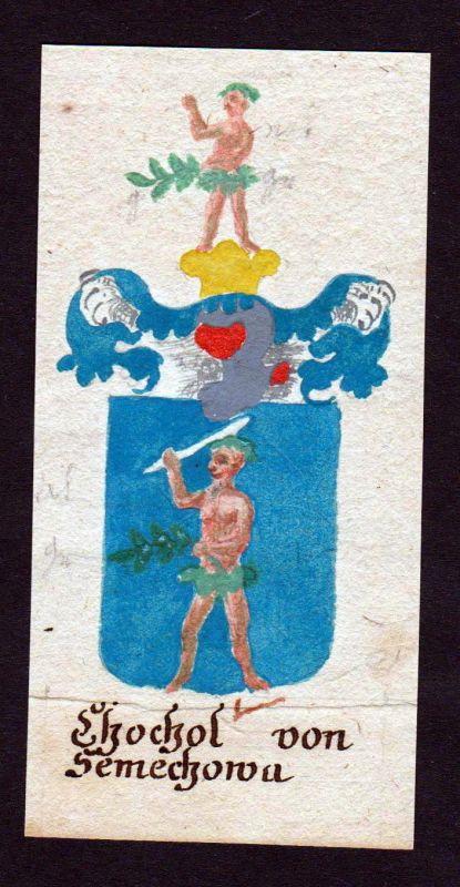 18. Jh Chochol von Semechowa Böhmen Manuskript Wappen Adel coat of arms Heraldik 0