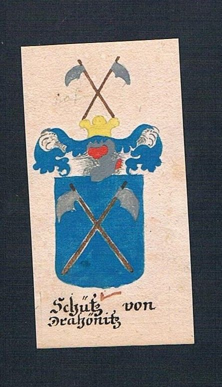 18. Jh. Schütz von Drahönitz Böhmen Manuskript Wappen Adel coat of arms heraldry 0