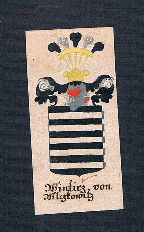 18. Jh. Wintirz von Wlczkowitz Böhmen Manuskript Wappen Adel coat of arms 0