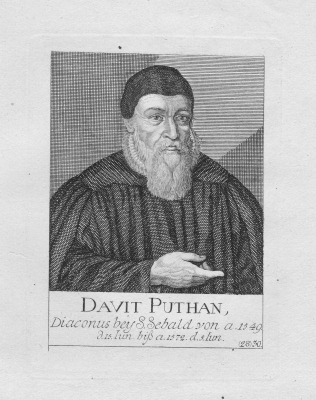 18. Jh. David Puthan Diakon Theologe St. Sebald Sebalduskirche Nürnberg Portrait 0