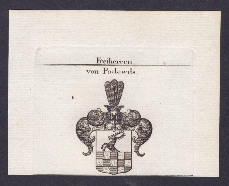 1820 Podewils Hinterpommern Wappen Adel coat of arms Kupferstich antique print 0