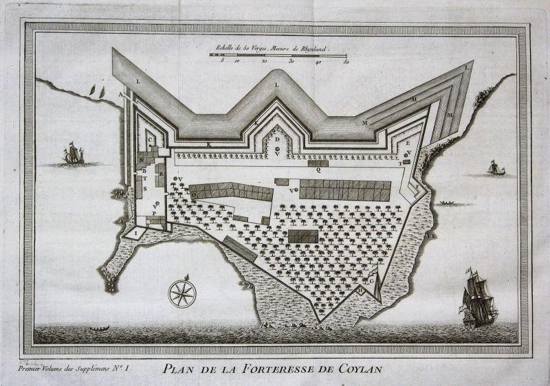 Kollam Kerala Indien India map view plan fort Kupferstich antique print Bellin