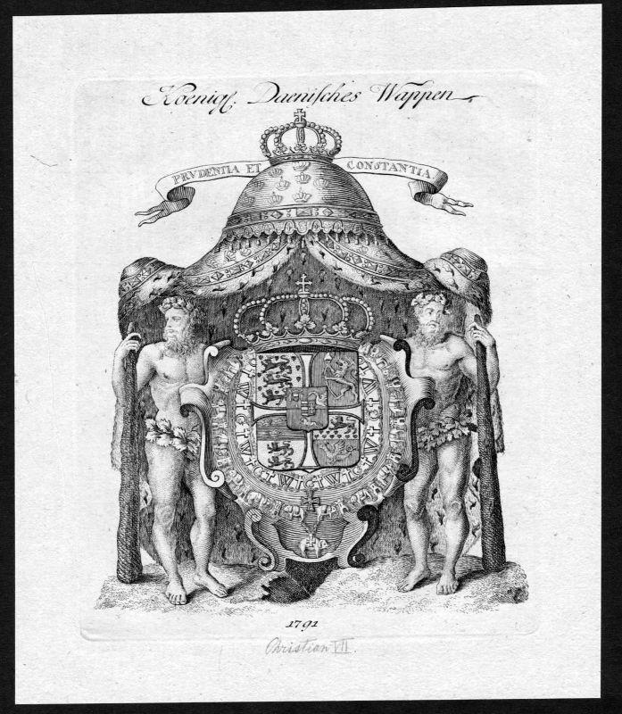 1790 - Dänemark Denmark Wappen Adel coat of arms heraldry Heraldik Kupfer 127031