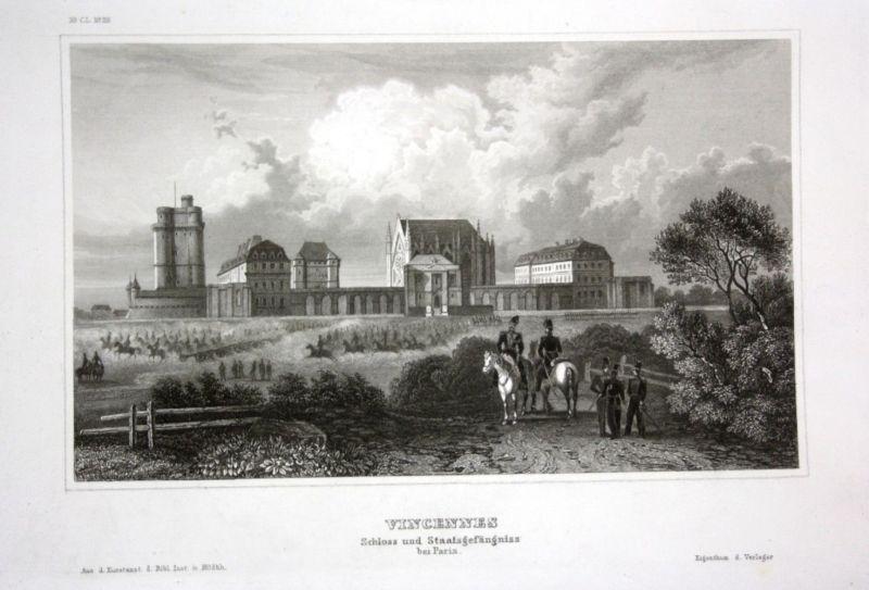 Ca. 1840 Vincennes chateau Ansicht vue Paris Stahlstich engraving gravure