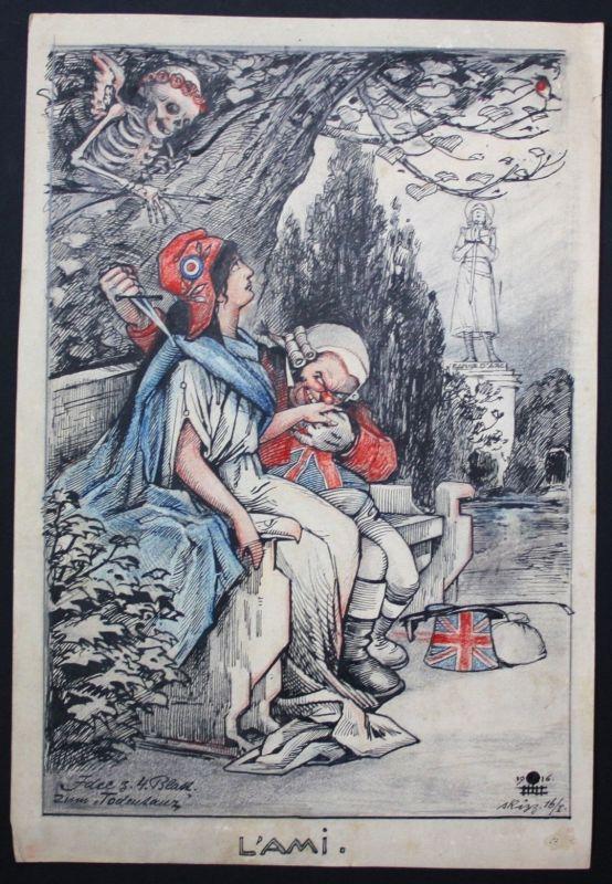 1916 Eugen von Baumgarten Propaganda Zeichnung England Weltkrieg world war 0