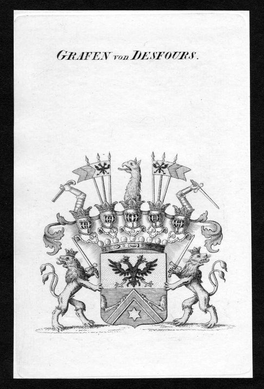 Ca. 1820 Desfours Wappen Adel coat of arms Kupferstich antique print heraldry 0