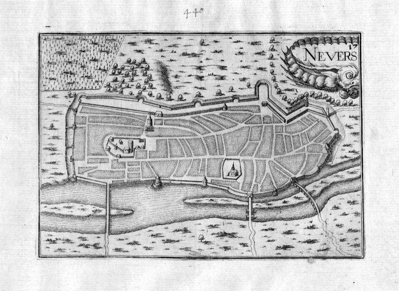 Ca. 1630 Nevers Nievre Frankreich Kupferstich Karte map engraving gravure Tassin