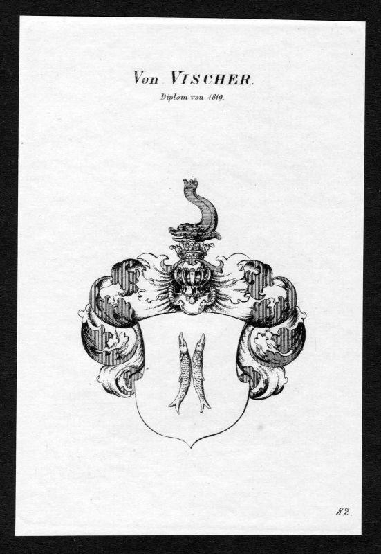 Ca. 1820 Vischer Wappen Adel coat of arms Kupferstich antique print heraldry 0