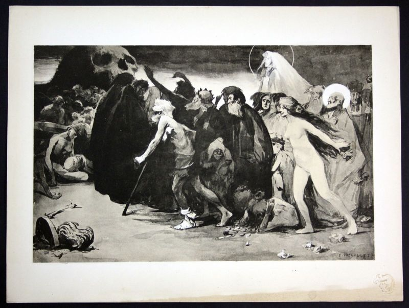 1897 Eugene Trigoulet Tod Art Nouveau Jugendstil Lithographie estampe Moderne 0